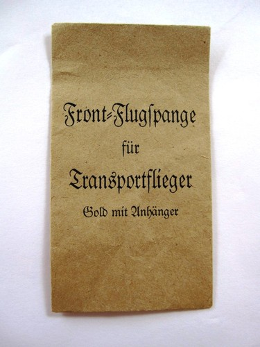 Frontflugspange Award Paper Packet
