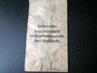 Panzervernichtungsabzeichen Award Packet