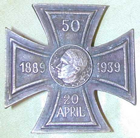 Adolf Hitler 50th Birthday Silver Presentation Cross