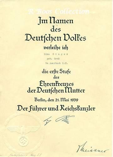 Ehrenkreuz der Deutsche Mutter Erste Stufe Urkunde