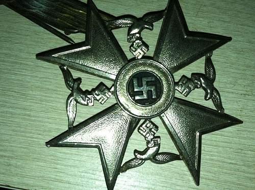 Ritterkreuz des Kriegsverdienstkreuzes mit Schwertern, Spanienkreuz, Infanterie-Sturmabzeichen, Dienstauszeichnung der NSDAP 25 Jahre.
