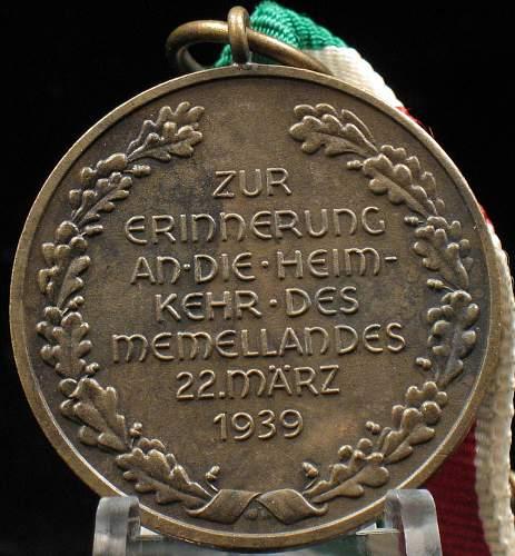 Medaille zur Erinnerung Memellandes
