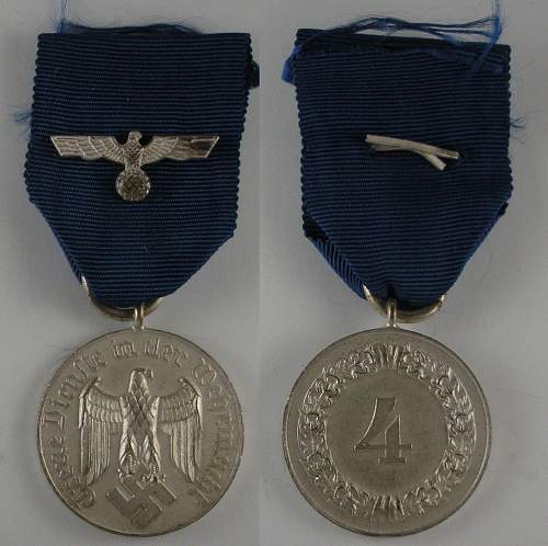 Wehrmacht 4-yr Treue Dienst medal for review