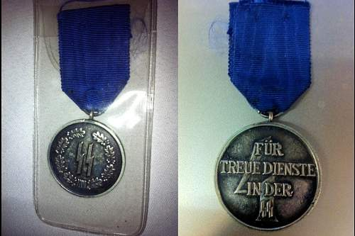 Ss 4 year service medal reproduction.