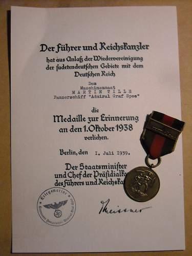 Sudeteland Medal + Praga Castle Spange + Document