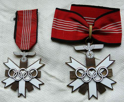 Olympic medals - first & second class enamel awards