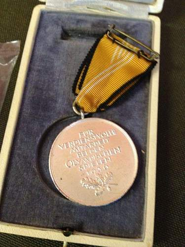 Third Reich Olympic Cased Medal