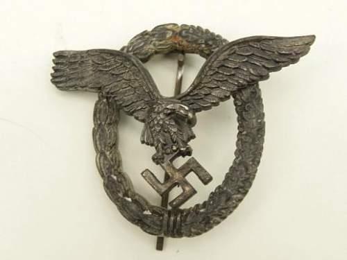 WW2 Luftwaffe Combined Pilot Observer Badge  Assmann maker