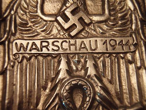 Found this large Warschau Shield 1944 (Two pins on the back.)
