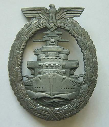 Kriegsmarine Flottenkriegsabzeichen/High Seas Fleet war badge