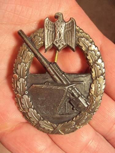 Ww2 german coastal artillery badge marine artillerie fll