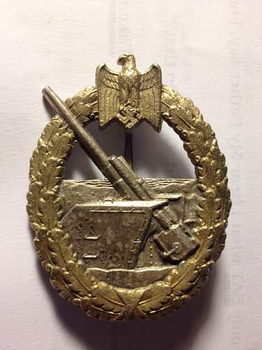 Scherwin Kriegsabzeichen fur die Marine-Artillerie.