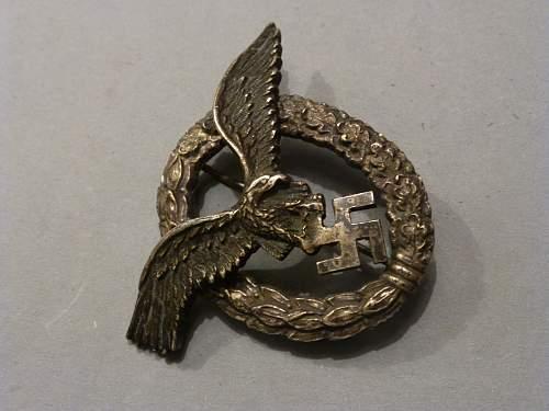 LW doppelt abzeichen Pilot observers Badge