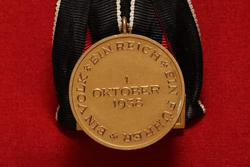 Sudeten Medal with Prague Castle Bar parade mount