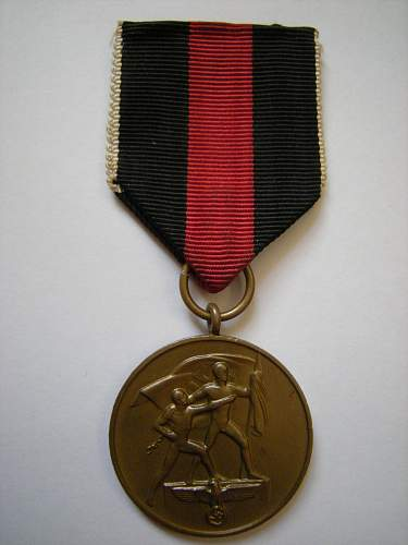 Click image for larger version.  Name:Sudetenland Medal.jpg Views:90 Size:227.0 KB ID:630542