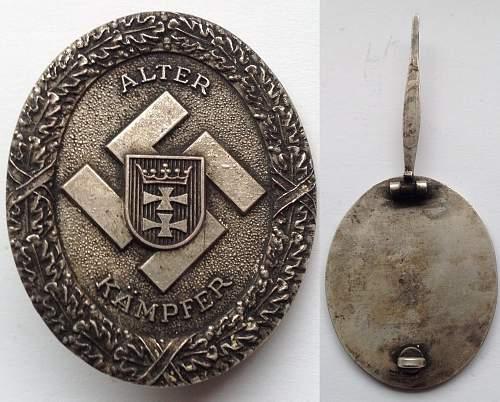 Danzig Alter Kampfer Badge