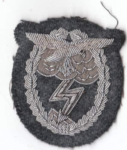 Cloth Erdkampfabzeichen der Luftwaffe