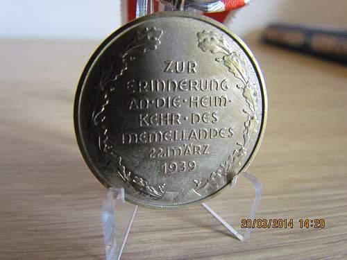 Medaille zur Erinnerung an die Heimkehr des Memellandes.