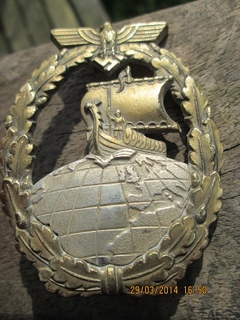 2  kriegabzeichen fur hilfskreuzer ( auxilliary cruiser war badge )