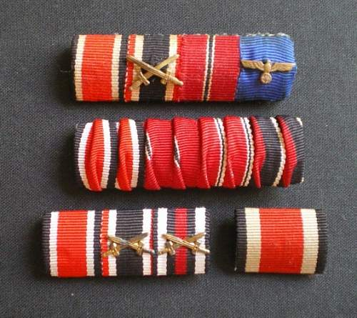 ribbon bar - EKII, long sevice, Sudetenland + bar