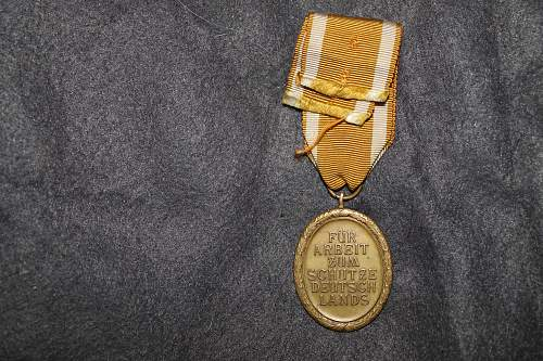 luftschutz 1938 medal and westwall medal