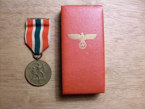 Cased Medaille zur Erinnerung an die Heimkehr des Memellandes