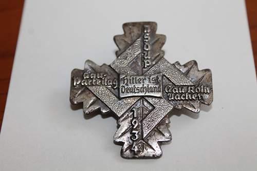 1934 Cross badge Please help to ID