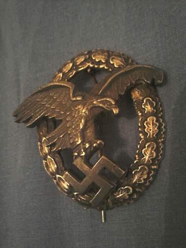 Luftwaffe pilot badge und balloon observer badge