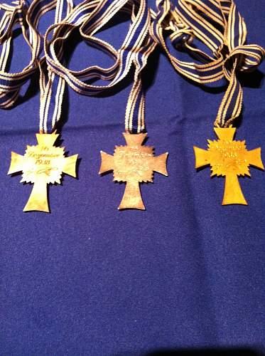 Need Help with Mutterkreuz bronze,silver and gold