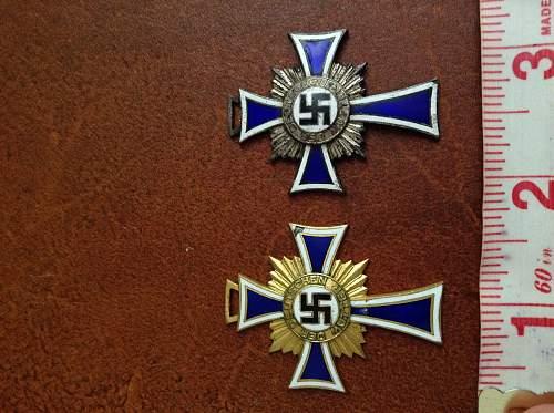 Ehrenkreuz der Deutsche Mutter, gold and silver and a D.A.P pin. Real or fake?