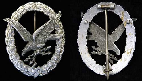 Assmann Aluminum Radio-Gunner Badge