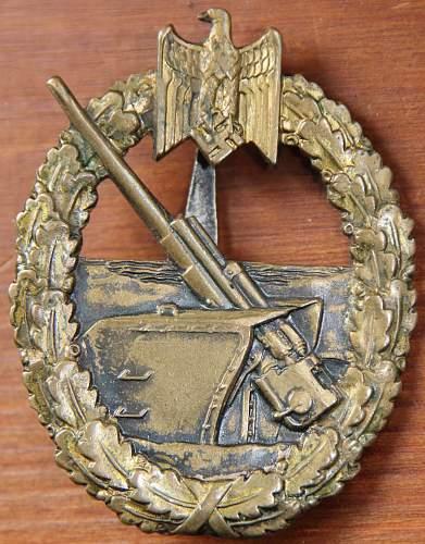 Kriegsabzeichen fur die Marine-Artillerie C.E. JUNCKER
