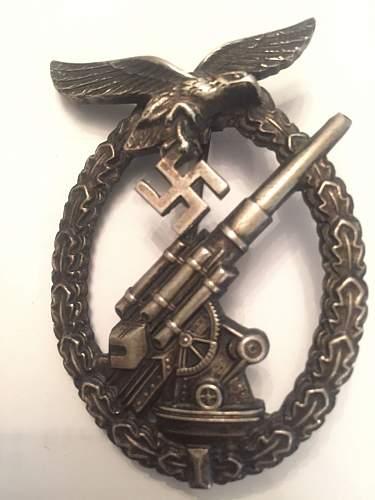 Luftwaffe Flak kampfabzeichen Badge - opinions please