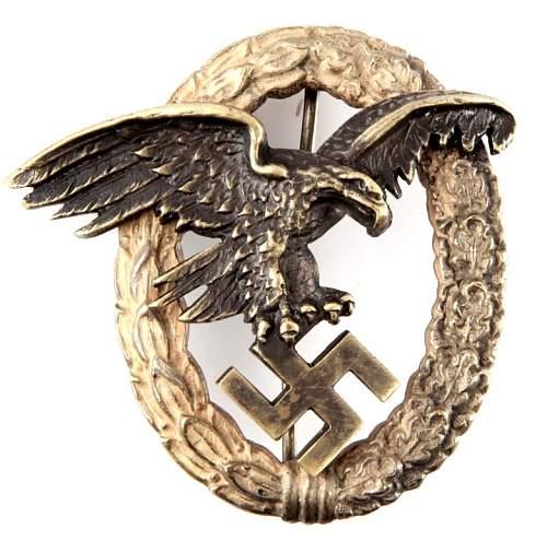 Click image for larger version.  Name:Luftwaffe Pilot Badge front.jpg Views:20 Size:175.0 KB ID:867250