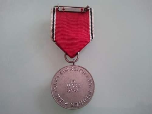 Medaille zur Erinnerung an den 13 Marz 1938