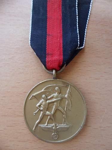 Sudetenland 1st Oktober medal