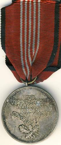 Olympic Games medal 1936