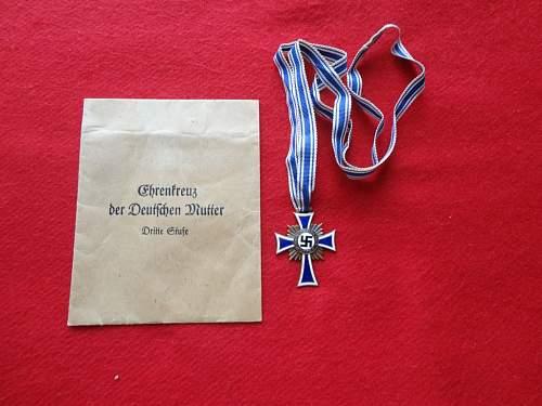 Ehrenkreuz der Deutsche Mutter Dritte Stufe  - Frank & Reif Stuttgard