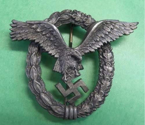 Flugzeugführerabzeichen Luftwaffe Pilots badge real or fake