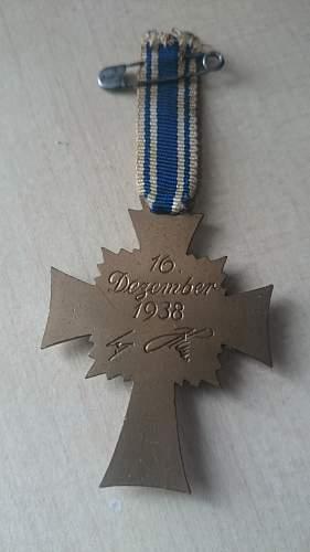 Mutterehrenkreuz Bronze addition