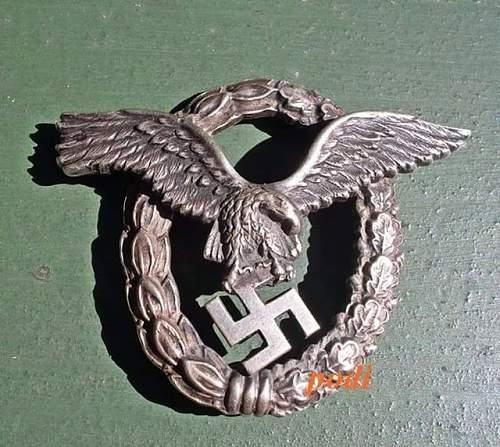 Need Help! Flugzeugführerabzeichen Luftwaffe Pilots Badge original?