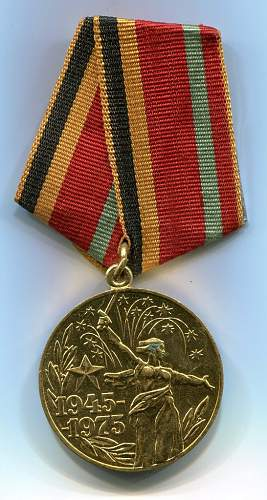 Click image for larger version.  Name:30th Anniversary of Victory Medal.jpg Views:76 Size:158.6 KB ID:116469