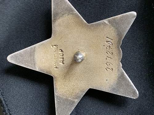 Soviet Order of the red Star check.