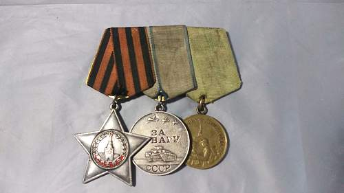 WW2 Russian Medal Bar?  Order of Glory, Courage, leningrad