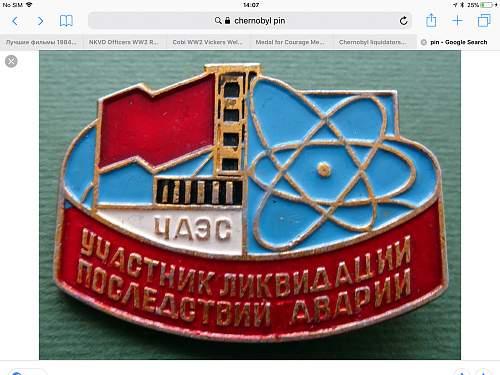 Chernobyl liquidators medal.