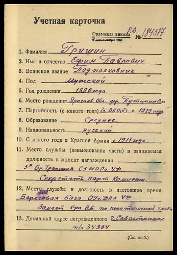 ORB # 203925 awarded to Yefim Pavlovich Hrishin