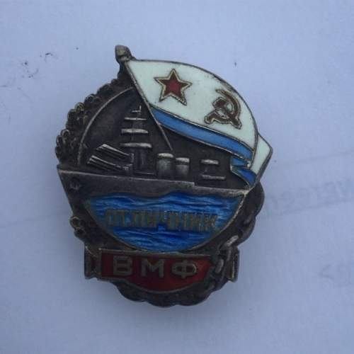 Excellent Serviceman of the Soviet Navy badge 1939