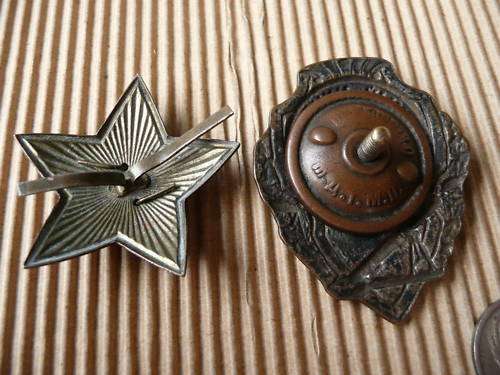 Excellent Mortarman badge and red star cap badge