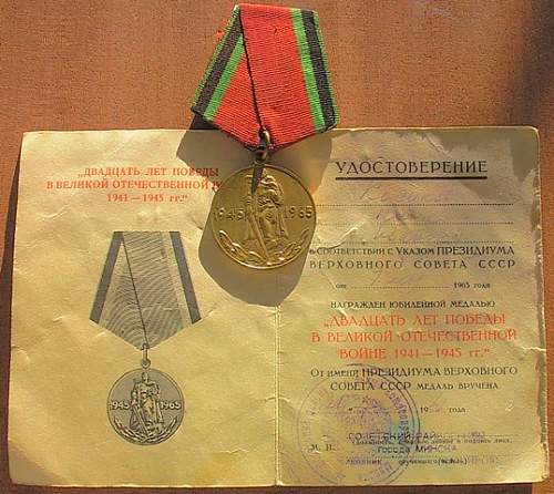 Click image for larger version.  Name:36) Russian 20yr anniversary medal & document.jpg Views:67 Size:116.3 KB ID:177065