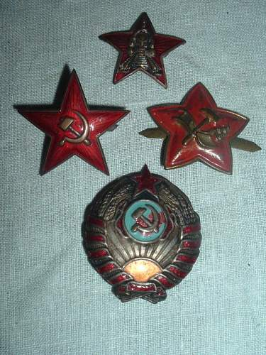 assorted early cap badges